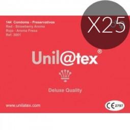 UNILATEX PRESERVATIVOS ROJOS FRESA 144 UDS X 25 UDS