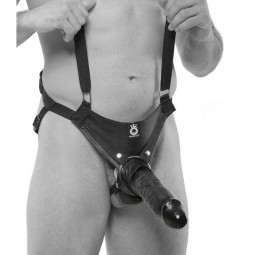 STRAP ON CON DILDO HUECO 255 CM Y TIRANTES COLOR NEGRO