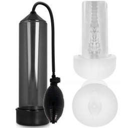 PUMP ADDICTED RX3 BOMBA ERECCIoN TRANSPARENTE CON MASTURBADOR