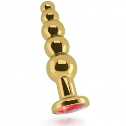 RICH R5 GOLD PLUG ANAL METAL RED SAPHIRE 125CM