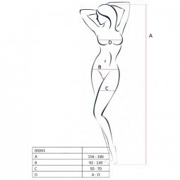 PASSION WOMAN BS041 BODYSTOCKING NEGRO TALLA UNICA