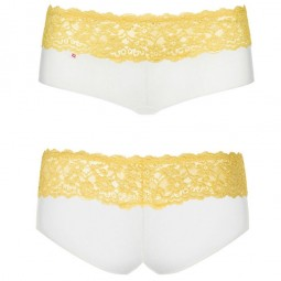 OBSESSIVE PACK TANGA SHORTIES LACEA AMARILLO Y BLANCO S M